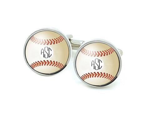 Baseball Cufflinks with Monogram - Jewelrylized