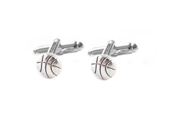 Silver Basketball Ball Cufflinks, Sports Cuff Links - Jewelrylized.com