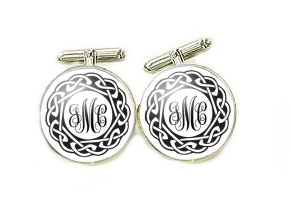 Circle Celtic Monogram Cufflinks - Jewelrylized.com