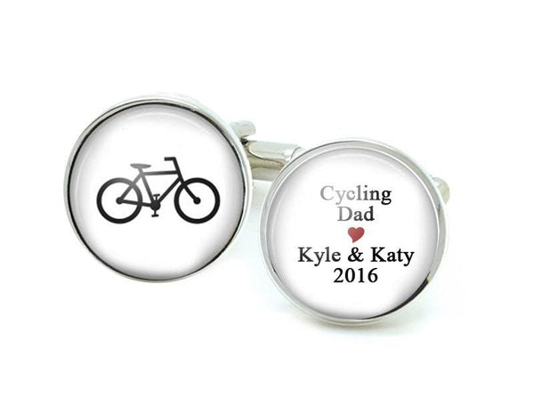 Bicycle Father Cufflinks with Personalized Text - Jewelrylized.com