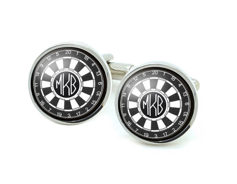 Monogram & Dart Board Cufflinks, Target Cuff links - Jewelrylized