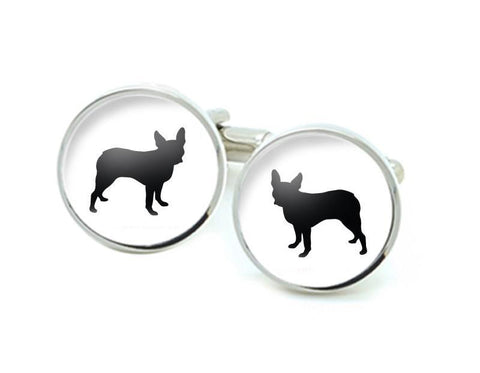 Boston Terrier Cufflinks, Silver Dog Silhouette cufflinks - Jewelrylized
