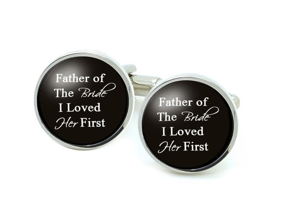 Silver Plated Father of the Bride Cufflinks, Wedding Personalized Initials Cufflinks - Jewelrylized.com