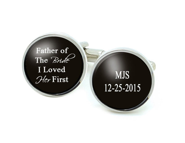 Black Initials Date Father of the Bride Cufflinks, Wedding Personalized Cufflinks - Jewelrylized