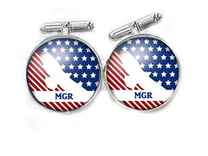 Eagle American Flag Initials Cufflinks, New - Jewelrylized.com