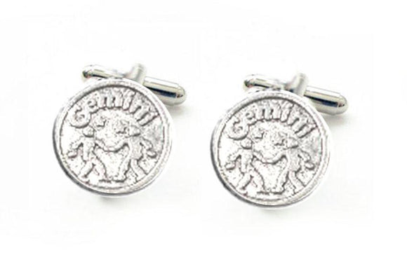 Gemini Cufflinks, Antiqued silver Zodiac Astrology Cufflinks, Other Signs also available - Jewelrylized.com