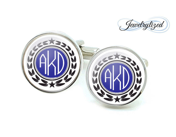 Blue Military Monogram Personalized Cufflinks - Jewelrylized.com