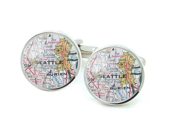 Seattle Map Cufflinks - Jewelrylized