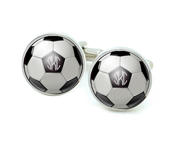 Soccer Ball Monogram Cufflinks, Sports Cuff Links - Jewelrylized
