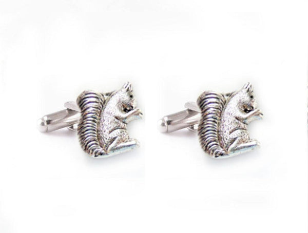 Squirrel Antiqued Silver Cufflinks, Cuff links - Jewelrylized  - 1