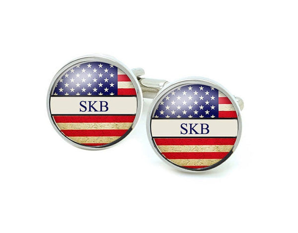 US Flag Initials Cufflinks - Jewelrylized  - 1