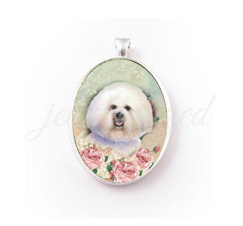 Handmade Bichon Frise dog porcelain cameo Necklace, Dog Lover gift