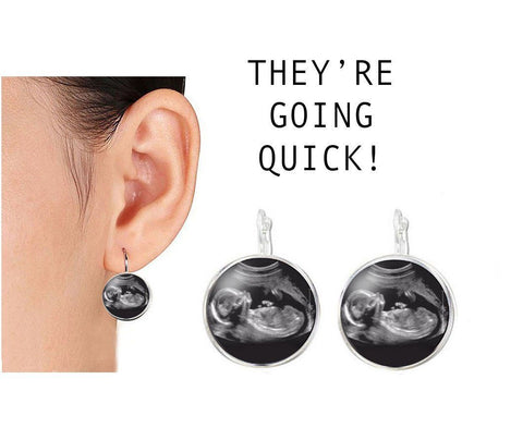New Baby Sonogram Silver Plated Earrings, Jewelrylized