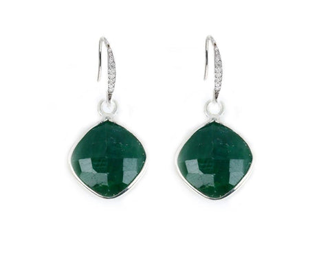 Emerald Sterling Silver Earrings - Jewelrylized