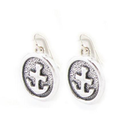 Oval Anchor Sterling silver Earrings - Jewelrylized  - 1