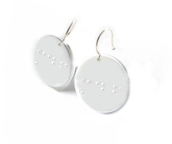 Braille Hand Stamped Initial Earrings - Jewelrylized.com