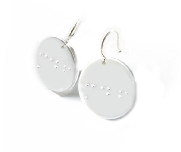 Braille Earrings, Hand Stamped Initials Earrings, For the Blind, Visually Impaired - Jewelrylized  - 1