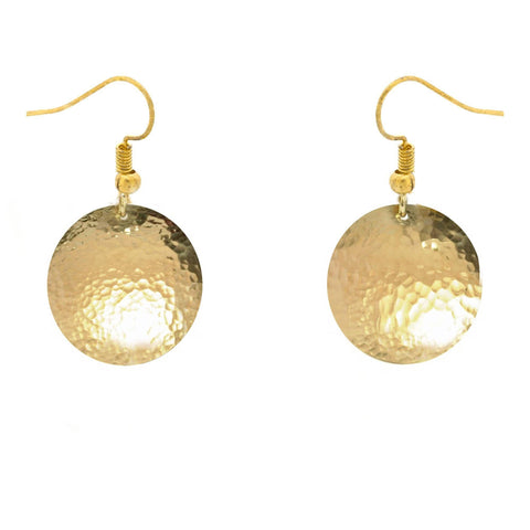 Brass Hammer Texture Dome Earrings, Jewelrylized