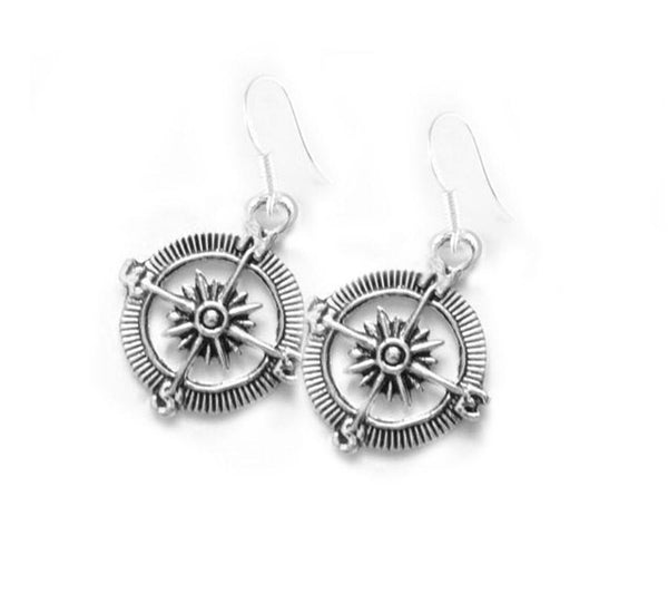 Compass Antiqued Silver Earrings - Jewelrylized.com