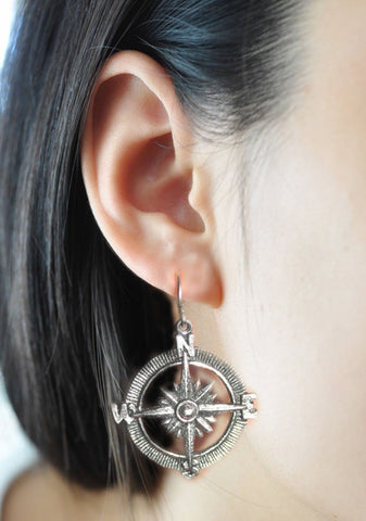 Compass Earrings, Antiqued Silver