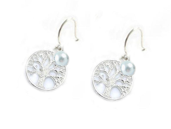 Tree of Life Earrings with Pearl Charm - Jewelrylized.com