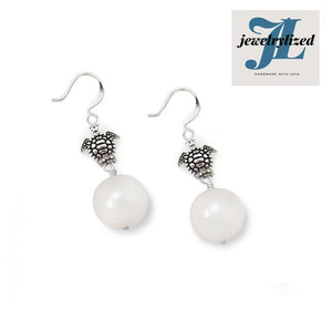 Turtle Pearl Silver Drop Earrings