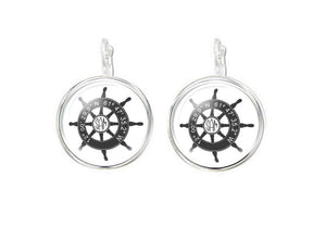 Silver Plated Latitude Longitude Ship Wheel Monogram Earrings - Jewelrylized.com