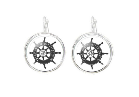Silver Plated Latitude Longitude Ship Wheel Monogram Earrings - Jewelrylized  - 1