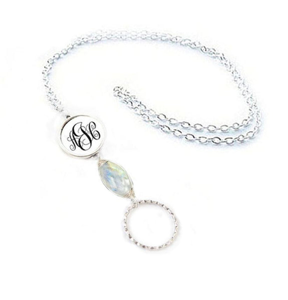 Moonstone Monogram Eyeglass Chain, Personalized Initials Lanyard, reading glasses chain holder - Jewelrylized