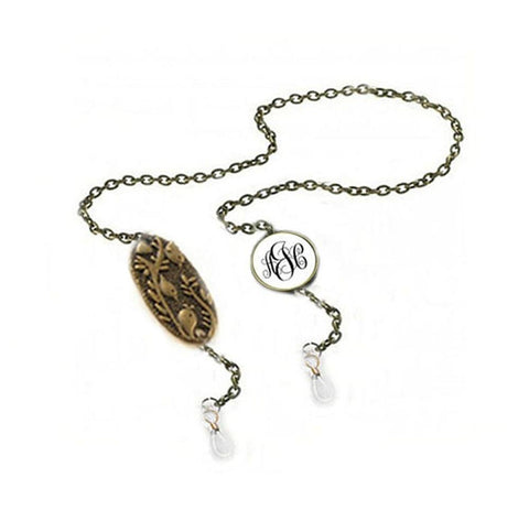 Bird Monogram Eyeglass Chain Holder in silver or bronze - Jewelrylized
