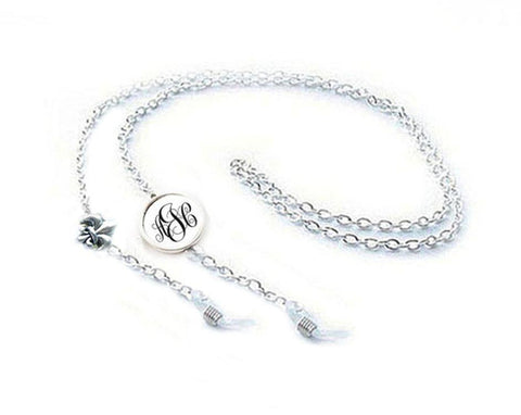 Monogram Fleur De Lis Eyeglass Chain Holder, Silver Eyeglass lanyard reading glasses chain - Jewelrylized