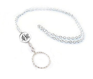 Infinity Monogram Glasses Lanyard, Silver Eyeglass Lanyard with Ring - Eyeglass Holder Necklace - Jewelrylized.com