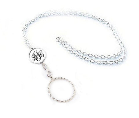 Infinity Monogram Glasses Lanyard, Silver Eyeglass Lanyard with Ring - Eyeglass Holder Necklace - Jewelrylized