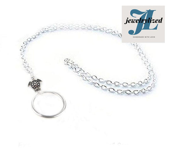 Silver Turtle Eyeglass Chain Lanyard, Reading glasses chain - Jewelrylized.com
