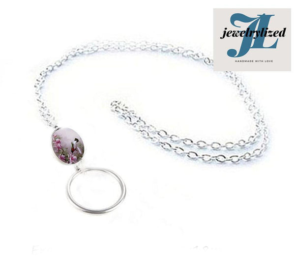 Hummingbird Oval Eyeglass Chain Lanyard, Photo Glass Necklace Chain