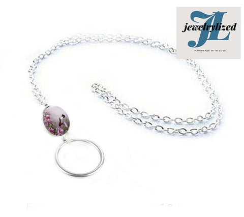 Hummingbird Oval Eyeglass Chain Lanyard, Photo Glass Necklace Chain - Jewelrylized