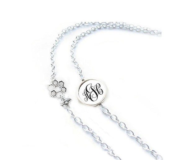 Personalized Monogram and Bee Eyeglass Chain Holder, Silver Eyeglass lanyard, reading glasses chain holder - Jewelrylized  - 1