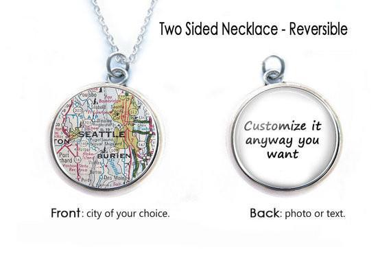 Silver Seattle Map Necklace, 2 Sided Necklace, Custom Map Necklace - Jewelrylized
