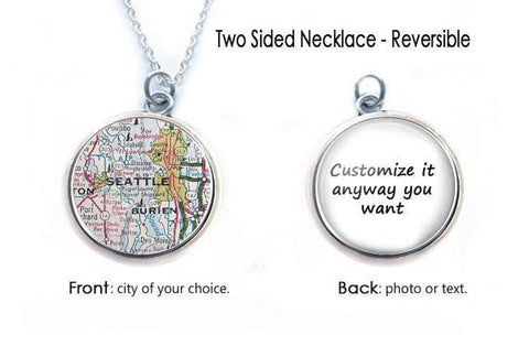 Silver Seattle Map Necklace, 2 Sided Necklace, Custom Map Necklace - Jewelrylized.com