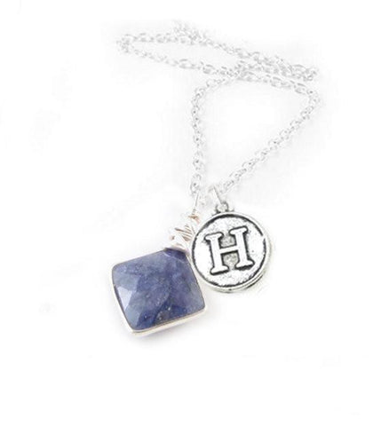 Initial and Sapphire Necklace, September birthstone - Jewelrylized.com