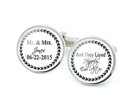 Mr & Mrs Cufflinks, Wedding Personalized Groom Cufflinks - Jewelrylized