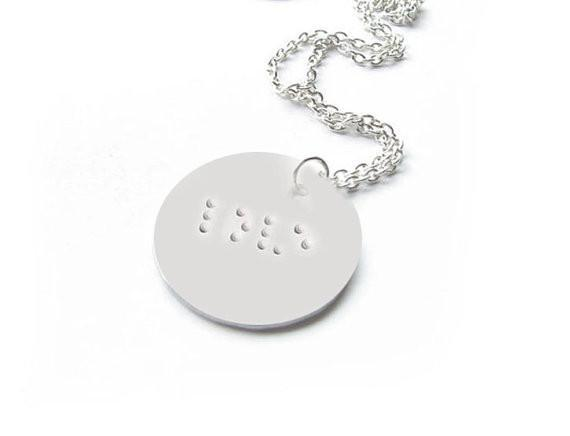 Braille Necklace, Hand Stamped love Pendant, For the Blind, Visually Impaired - Jewelrylized