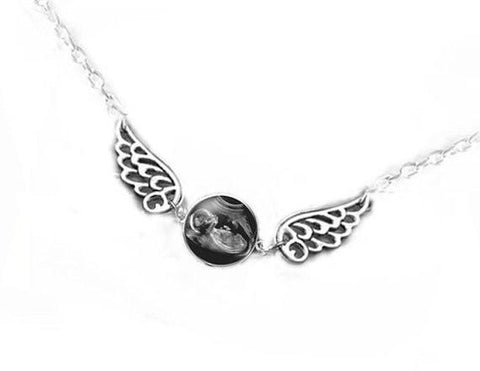 Baby Angel Wing Sonogram Necklace, Photo Jewelry - Jewelrylized.com