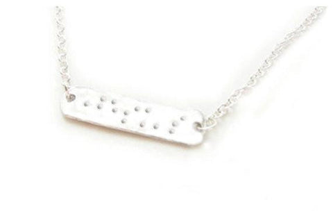 Braille Necklace, Hand Stamped Jesus Jewelry - Jewelrylized  - 1