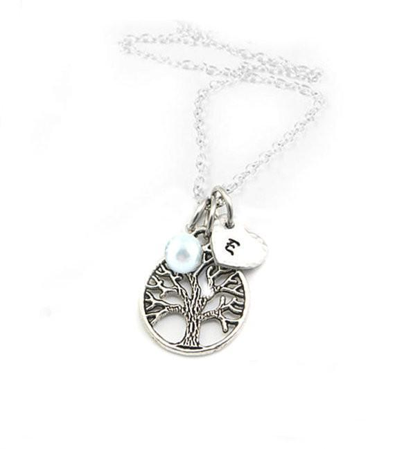 Tree Necklace with Initial Heart Charm and Pearl - Jewelrylized.com