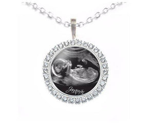 Rhinestone Silver Sonogram Necklace, Pregnancy Gift, birth announcement - Jewelrylized.com