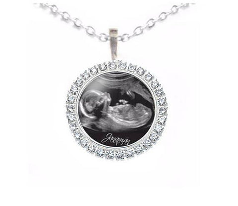 Rhinestone Silver Sonogram Necklace, Pregnancy Gift, birth announcement, Jewelrylized