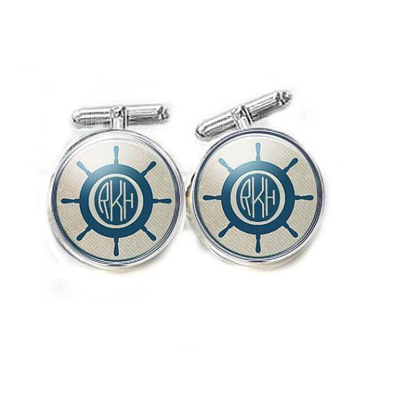Nautical Ship Wheel Monogram Cufflinks, Tie Clip, Tie Tack, Money Clip, personalized gift for men - Jewelrylized.com