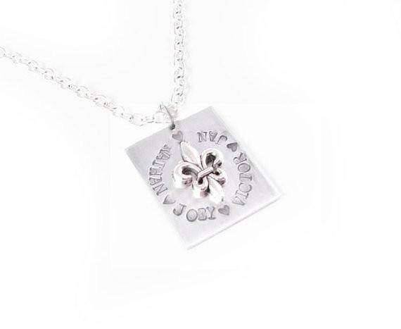 Square Fleur De Lis Personalized Hand Stamped Necklace - Jewelrylized  - 1