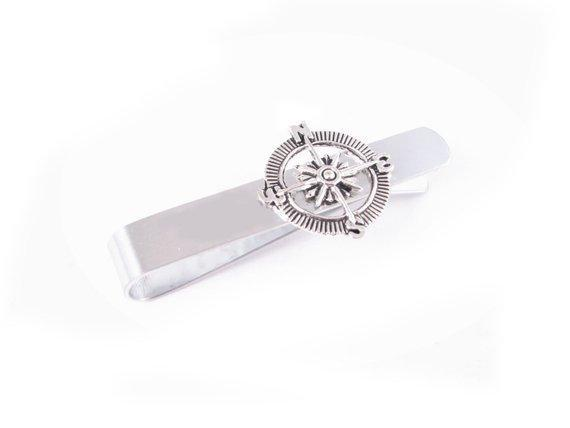 Compass Stainless Steel Tie Clip - Jewelrylized.com